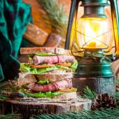 Woodcutter sandwich with beef — Stock Photo