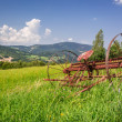 Red rake in a field in the mountains — Stock Photo #63190187