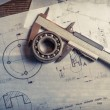 Bearing, calipers and mechanical diagrams — Stock Photo #63523929
