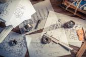 Designing mechanical parts by engineer — Stok fotoğraf
