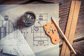 Mechanical drawing is created from the bearing — Stock Photo