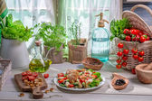Healthy food prepared in the spring kitchen — Stock Photo