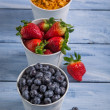 Ingredients for a healthy breakfast with fruits — Stock Photo #64204313