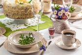Holiday table ready for acceptance guests — Stock Photo
