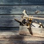Vintage carpenters tool box — Stock Photo #66227341