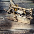 Old wooden carpenters tool box — Stock Photo #66227343