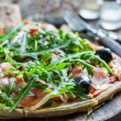 Closeup of homemade pizza with tomato and basil — Stock Photo #66767805