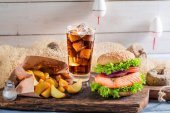 Tasty burger with fis — Stock Photo