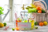 Sweet drink with straw and fruits — Foto Stock