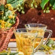 Tea with lime and honey served in the garden at summer — Stock Photo #74151419