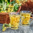 Summer lime tea with honey served in the garden — Stock Photo #74151471
