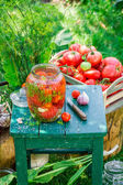 Fresh pickled tomatoes in the garden — Stock Photo