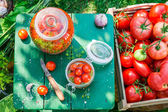 Ingredients for pickled tomatoes in the jar — Stock Photo
