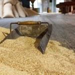 Metal shovel in dry grain on a wooden storage room — Foto de Stock   #53681871