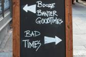 Chalk board with good times versus bad times — Stock Photo