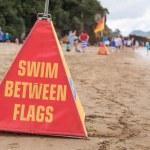 Swim between flags warning cone — Stock Photo #71844567