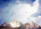 Swans and Mountains — Stock Photo
