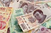 Mexican Peso bank notes background — 图库照片