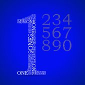 číslo jedna, vytvořené z textu — Stock vektor