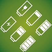 Batterie con diverso livello di carica — Vettoriale Stock