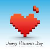 Red Pixel heart — Stock Vector
