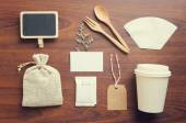 Coffee and craft vintage mockup set — Stock Photo