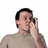 Man screams at phone — Stock Photo
