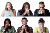 Six sneezes people — Stock Photo