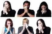 Six people sneezing — Stock Photo