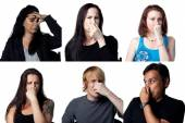 Six people holding their noses — Stock Photo