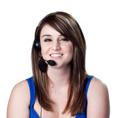 Receptionist answering phones — Stock Photo