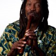 Rastafarian playing the flute — Stock Photo #65282301