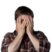 Scared young man — Stock Photo