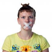 Silenced young woman — Stock fotografie