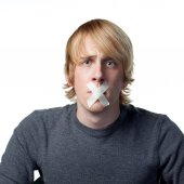 Silenced young man — Stock Photo
