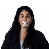 Hispanic woman silenced — Stock Photo