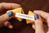 Opening A Fortune Cookie — ストック写真