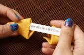 Opening A Fortune Cookie — Stock fotografie
