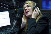 Happy Woman Recording And Singing — Stockfoto