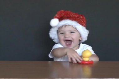 Baby Santa laugh — Stock Video