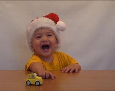 Baby Santa laugh 2 — Stock Video