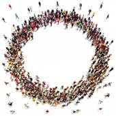Large crowd of people moving toward the center forming a circle with room for text or copy space advertisement on a white background. — Stock Photo
