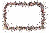 Large crowd of people moving toward the center forming a square with room for text or copy space advertisement on a white background. — Stock Photo