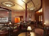 Classy upscale restaurant interior with bar. — Stock Photo