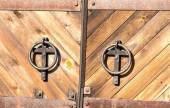 Old door in church — Stock Photo