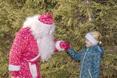 Santa Claus and the boy in wood near a fur-tree — Stock Photo
