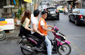 Motorcycle taxi, Bangkok, Thailand — Stock Photo