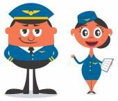 Pilot and Air Hostess — Stock Vector