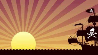 Pirate Ship Sailing — Stock Video