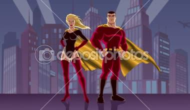 Superhero Couple — Stock Video